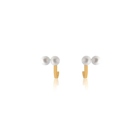 Unfinishing Line Curve Double Pearl Earrings