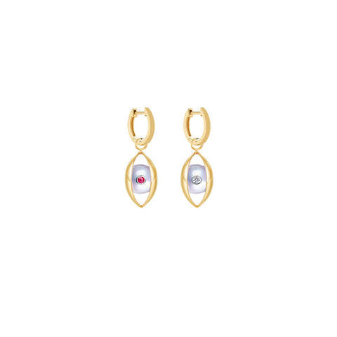 The Eye Hoop Earrings with Akoya Pearl, Ruby and White Diamond