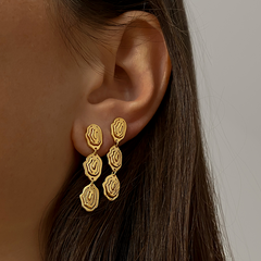 Elena Trio Drop Earrings Gold