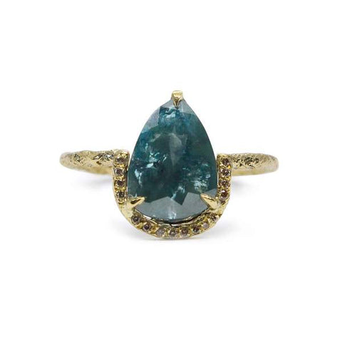 Blue Pear Cut Diamond 18ct Yellow Gold Ring
