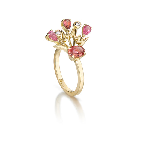Cherry Bomb Ring Tourmaline, Sapphire, Diamond & 18K Gold