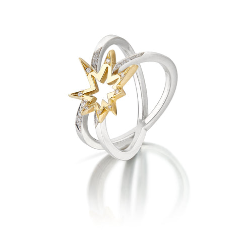 Crossette Diamond Ring 18K Gold and Platinum