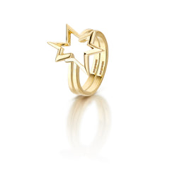 Titanium Salute double stacking ring 18K Gold