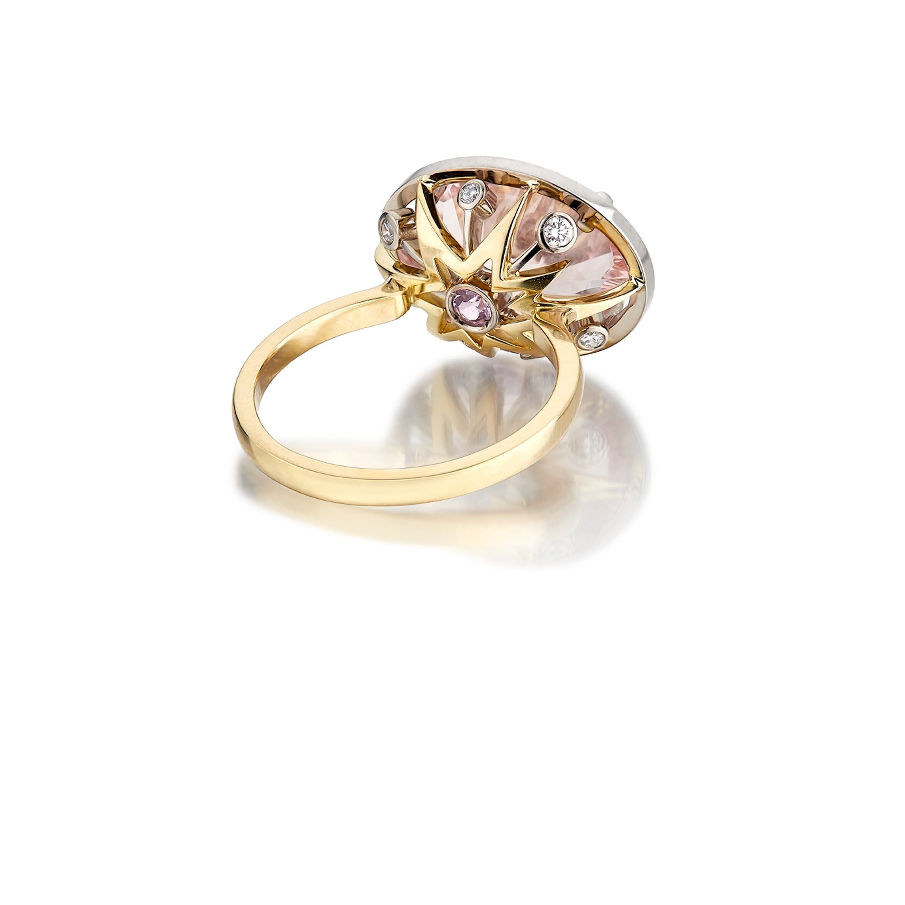 Kamuru Ring Morganite, Sapphire, Diamond and 18K Gold ring