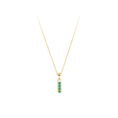 Melody Bar Pendant Necklace in Green Chalcedony