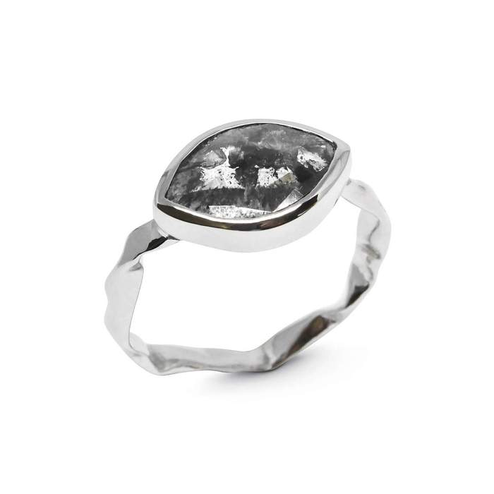Marquise Grey Diamond Ring in 18ct White Gold