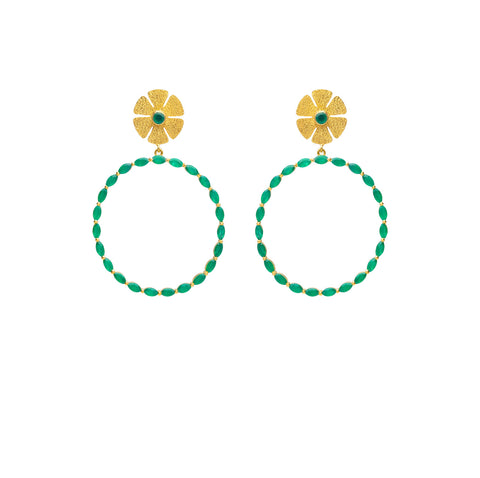 Natasha Earrings with Green Onyx