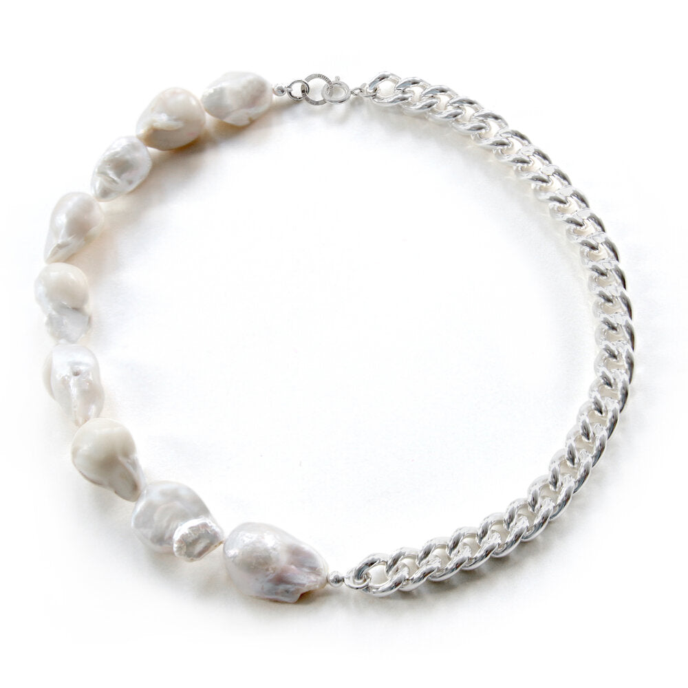 Draco Curb Chain and Baroque Pearl Necklace