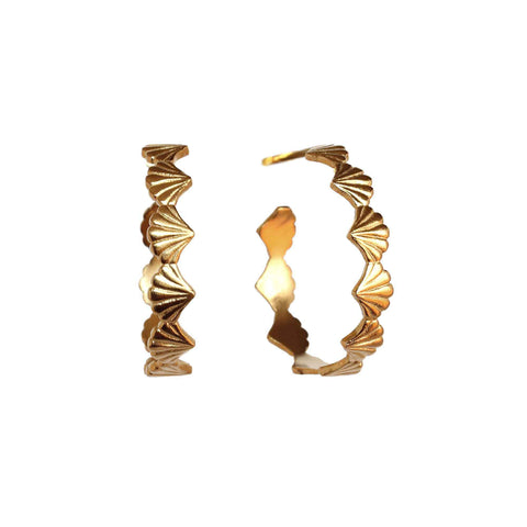 Large Scallop Yellow Gold Hoop Earrings
