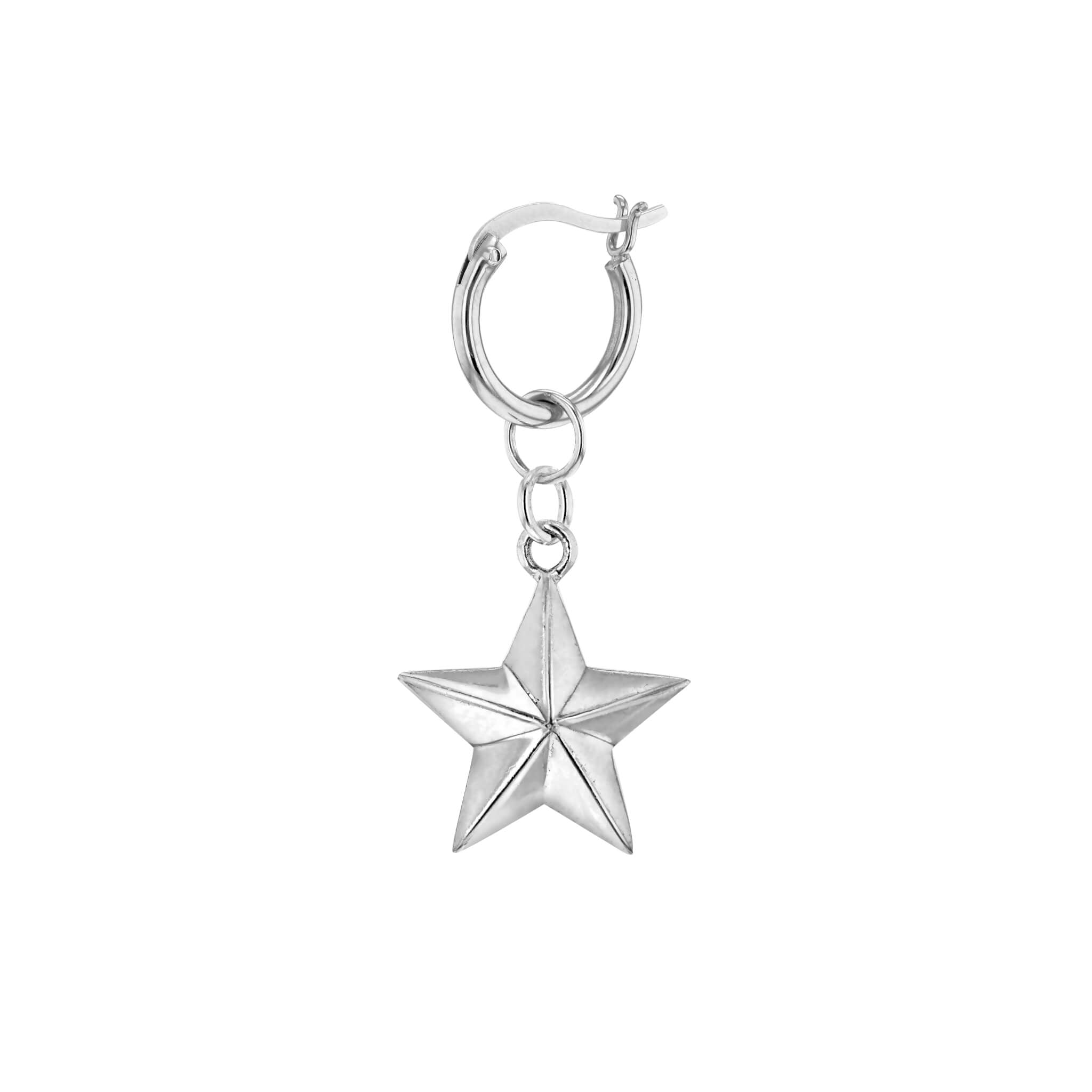 Star Hoop Earring in Silver