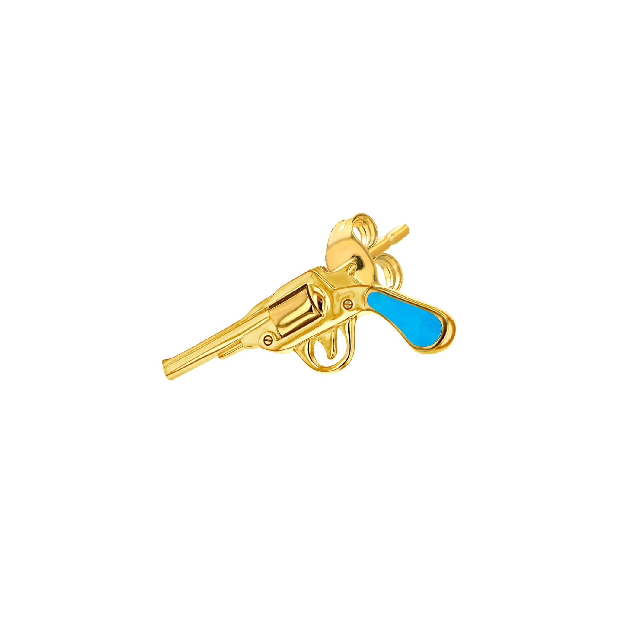 Pistol Stud Earring in Turquoise and Gold