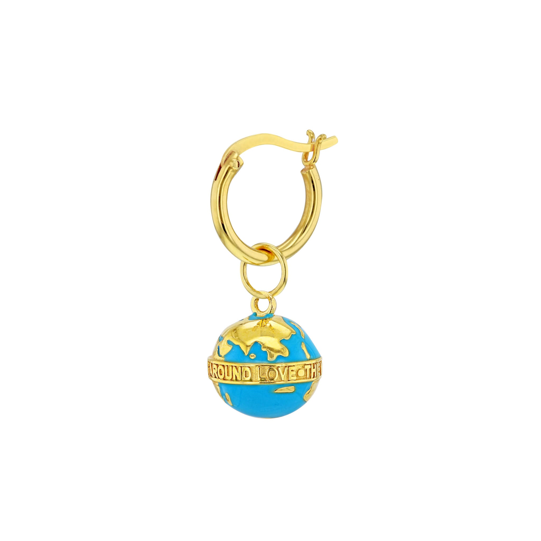 Globe Hoop Earring in Turquoise and Gold
