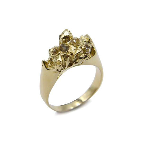 Under Earth Half Texture Ring 9ct Gold