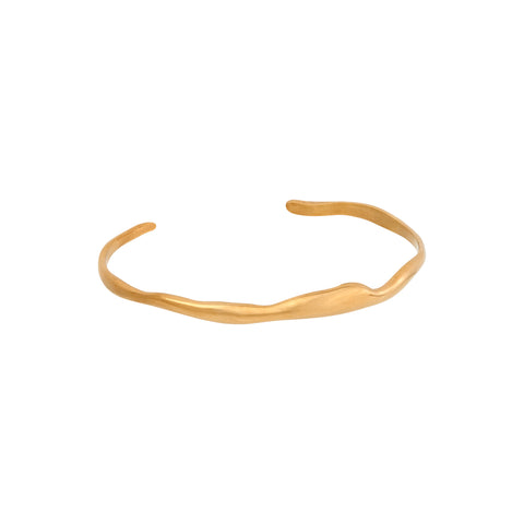 Wide Ripple Bracelet Gold