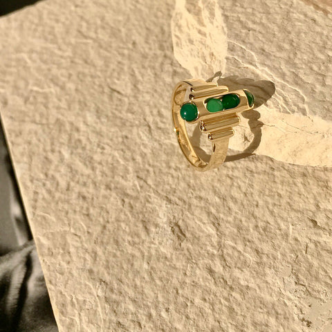 Melody Ring with Green Chalcedony