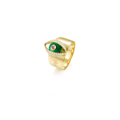 The Eye Cocktail Ring with Malachite
