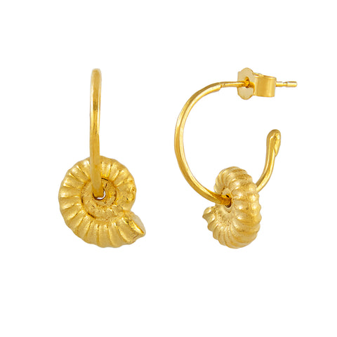 Ammonite Hoop Earrings