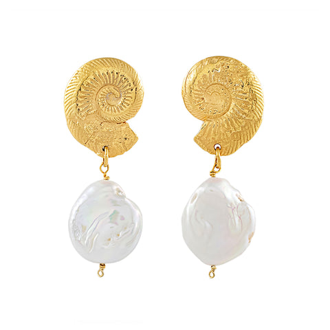 Ammonite Pearl Drop Earrings
