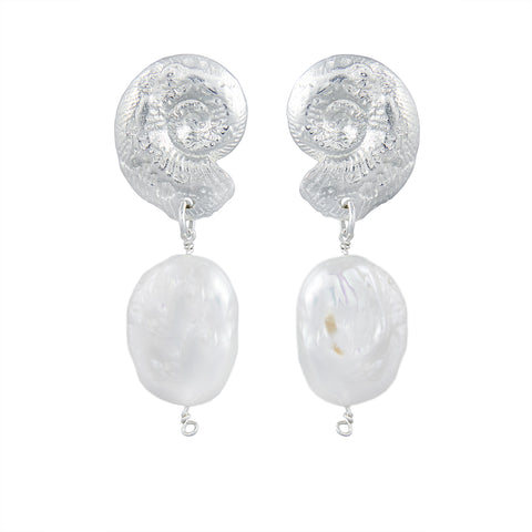 Ammonite Pearl Drop Earrings Silver