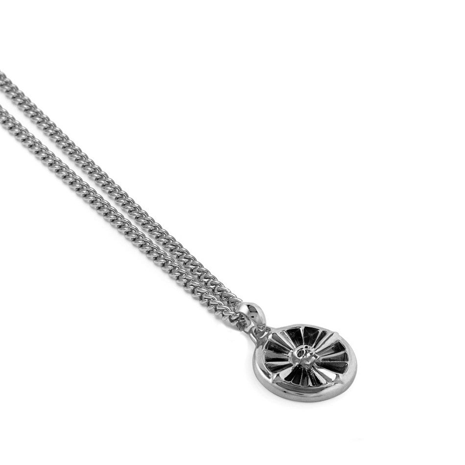 Atticus Skull Compass Necklace In Silver