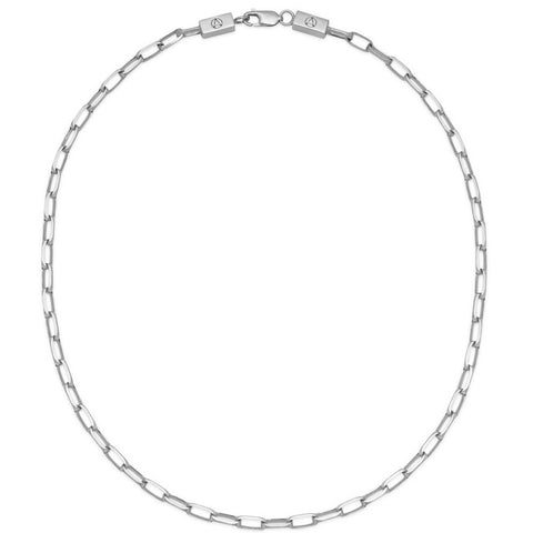 Large Cable Chain Link Necklace in Silver