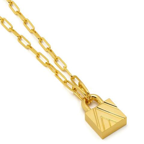 Chevron Padlock Chain Necklace in Gold