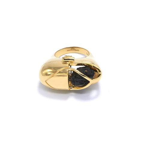 Capsule Crystal Ring Gold Black Tourmaline