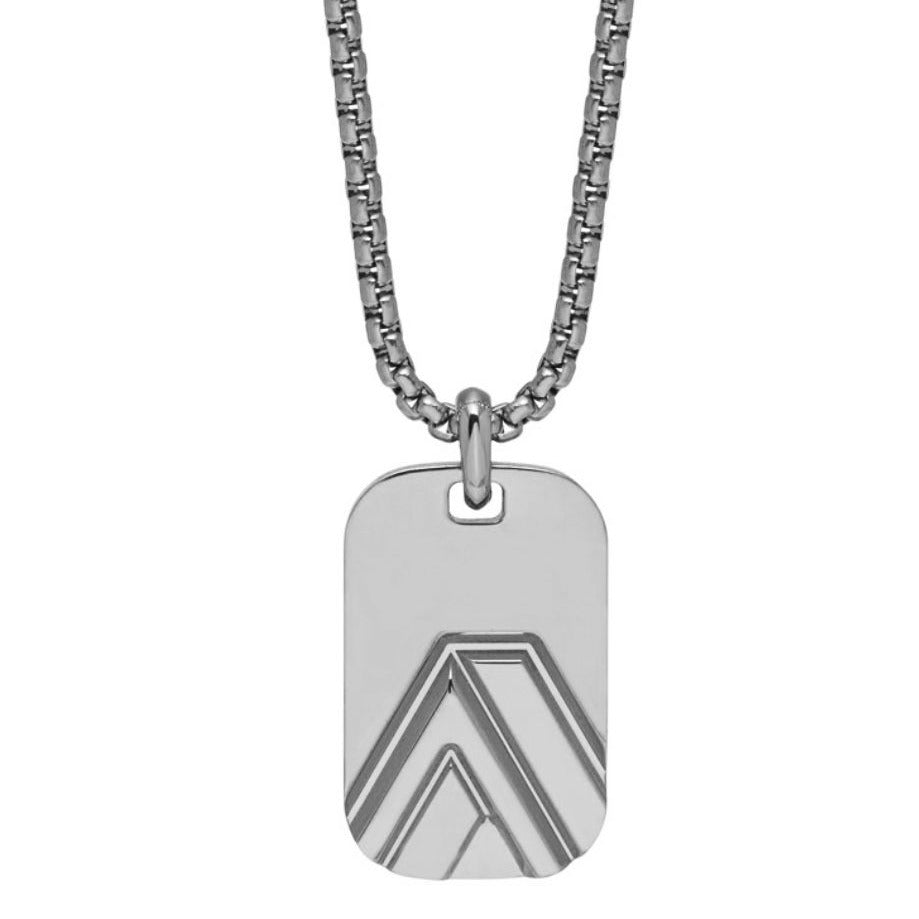 Chevron ID Tag Pendant in Silver