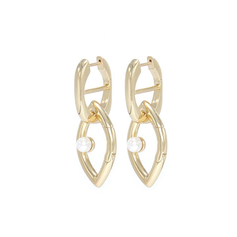 Eye Opener Chain Earrings Gold
