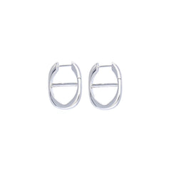 Chain Hoop Earrings Silver