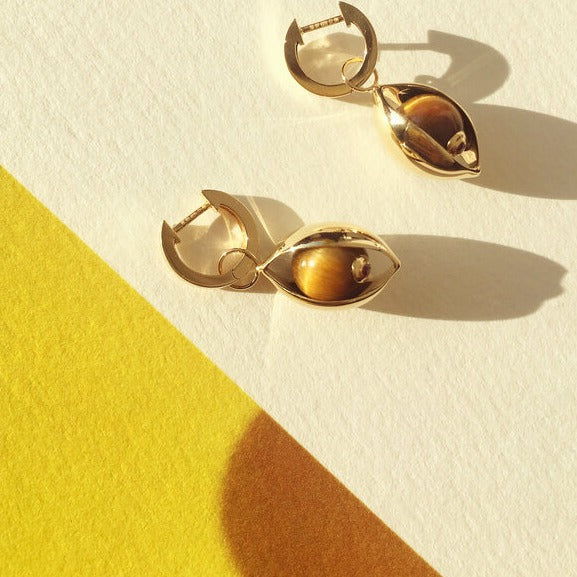 The Tiger Eye Hoop Earrings