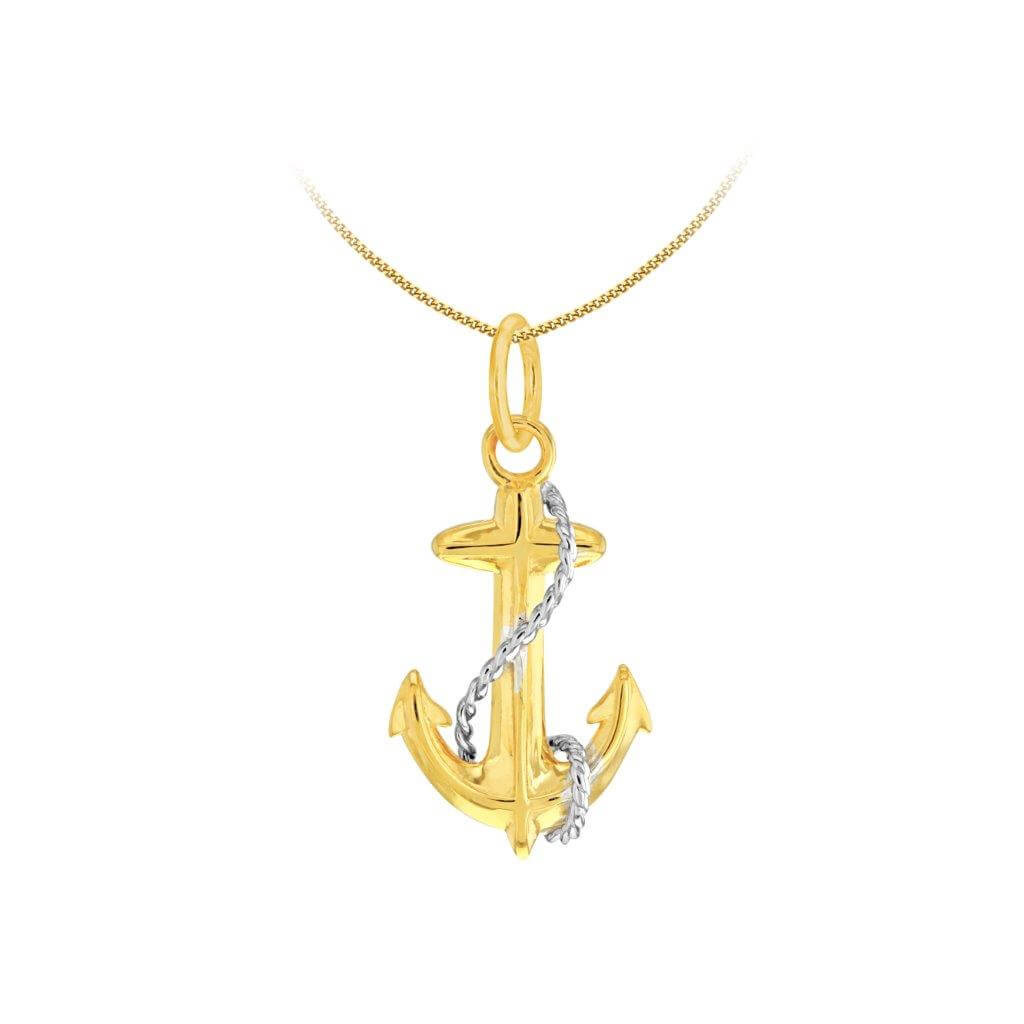 2 Tone Gold and Silver Mini Anchor Pendant
