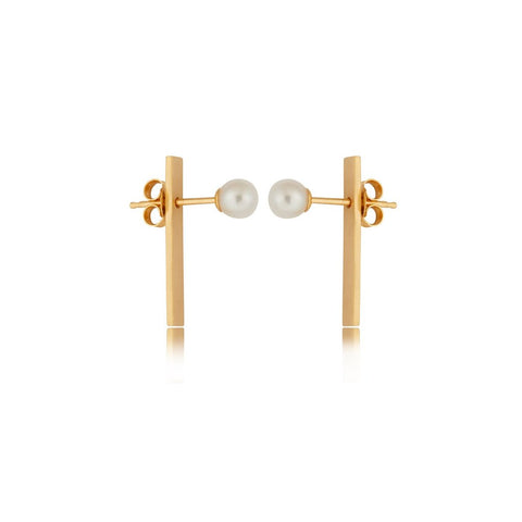 Making Marks Rectangular Bar Pearl Earring