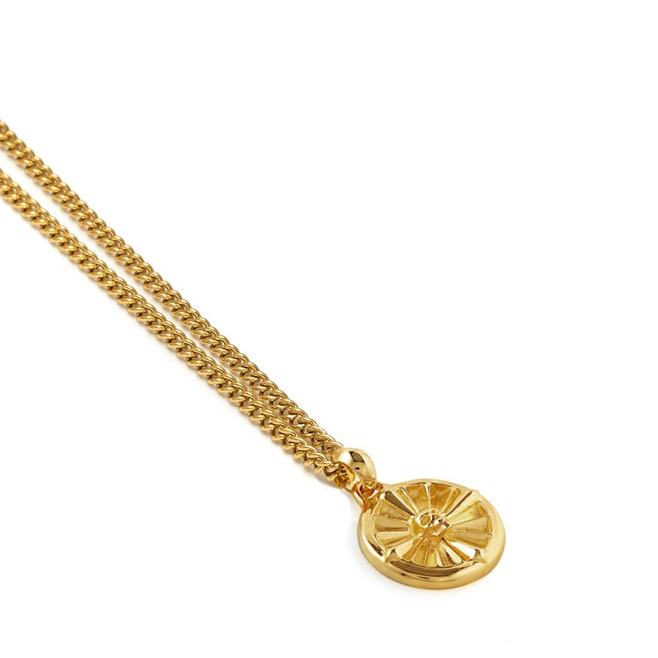 Atticus Skull Compass Necklace In Gold