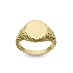 Gold Glitch Signet Ring