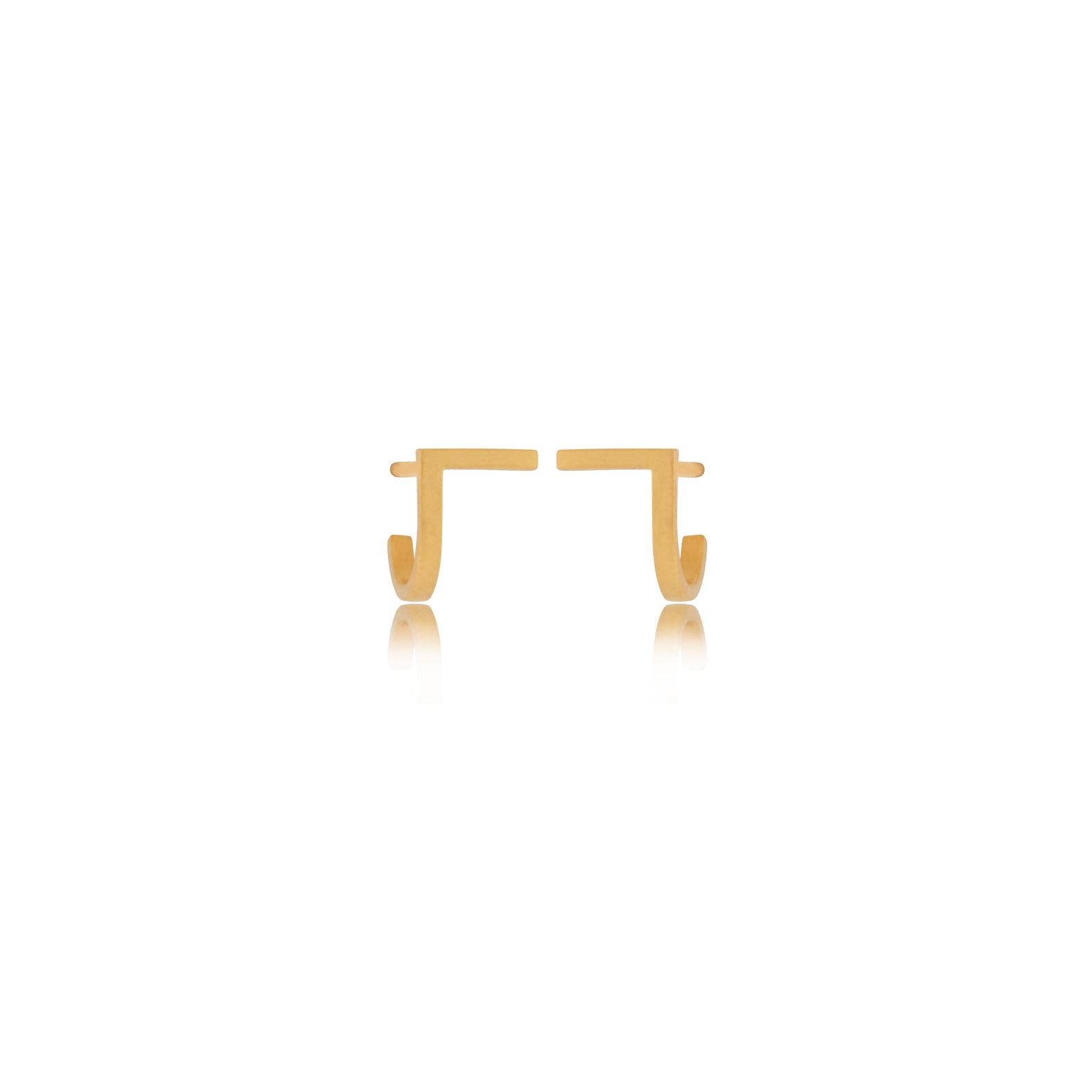 Unfinishing Line Curve Gold Earrings/Small