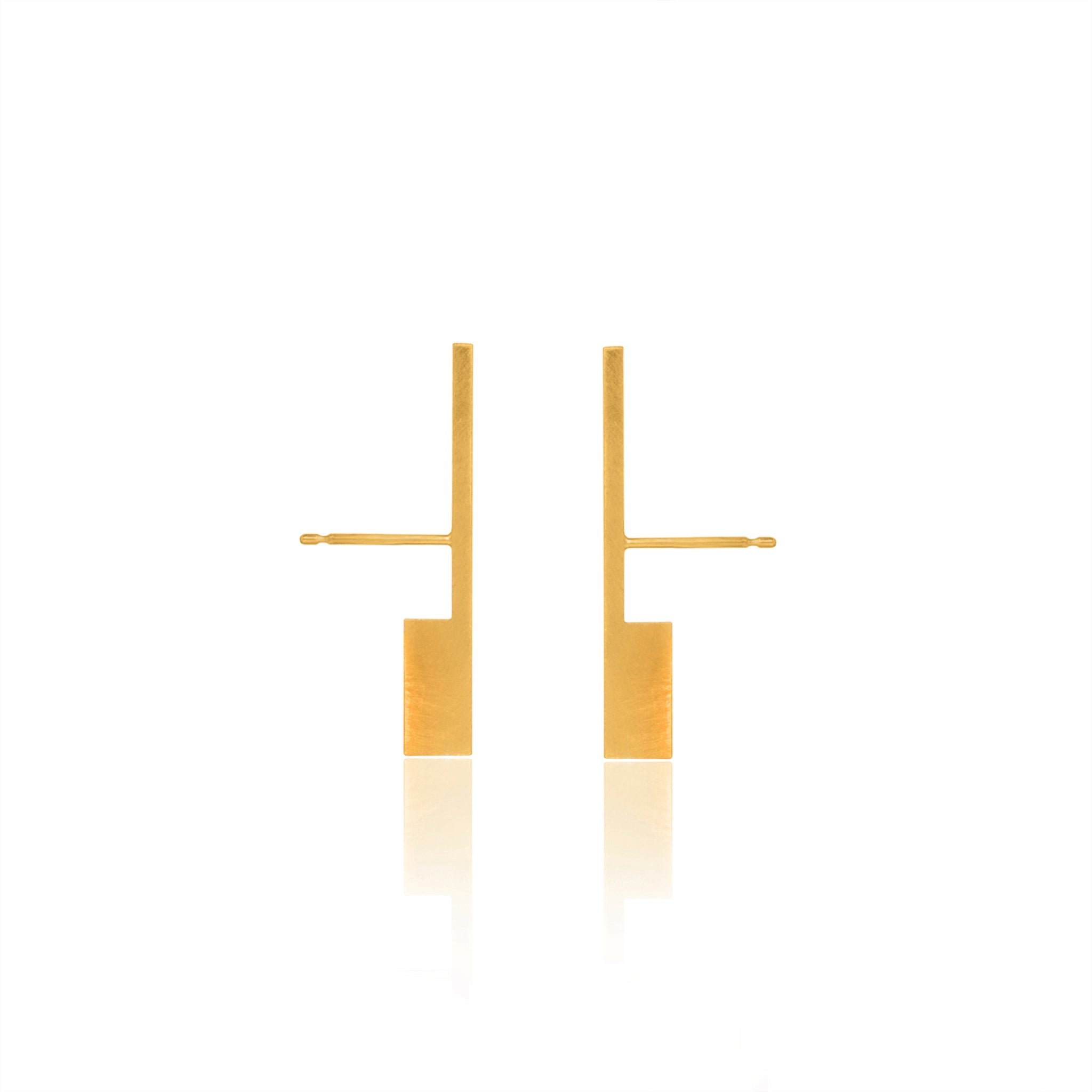 Unfinishing Line Gold Perspective Earrings