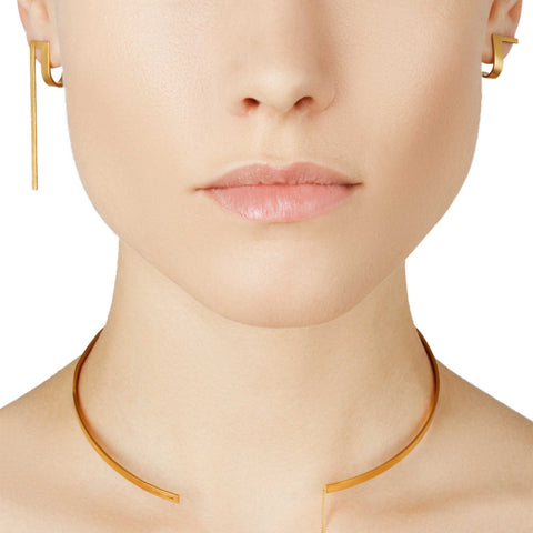 Unfinishing Line Gold Minimal Line Curve Extension Earrings
