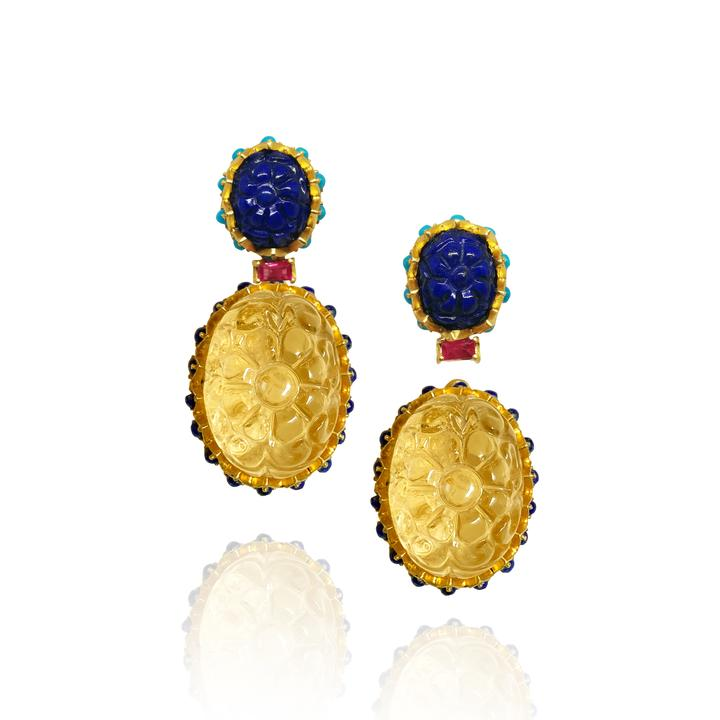 Lapis Stud and Citrine Drop Earrings