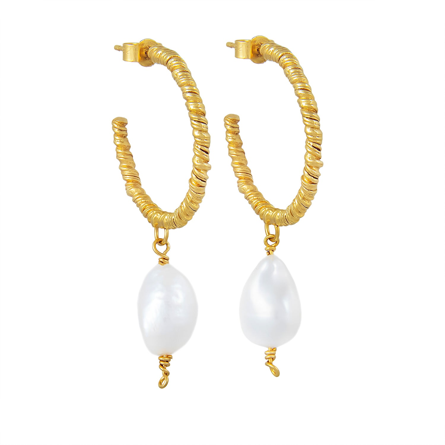 Organic Twisted Large Pearl Hoop Earrings Gold