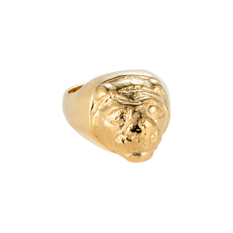 Lions Head Signet Ring Gold