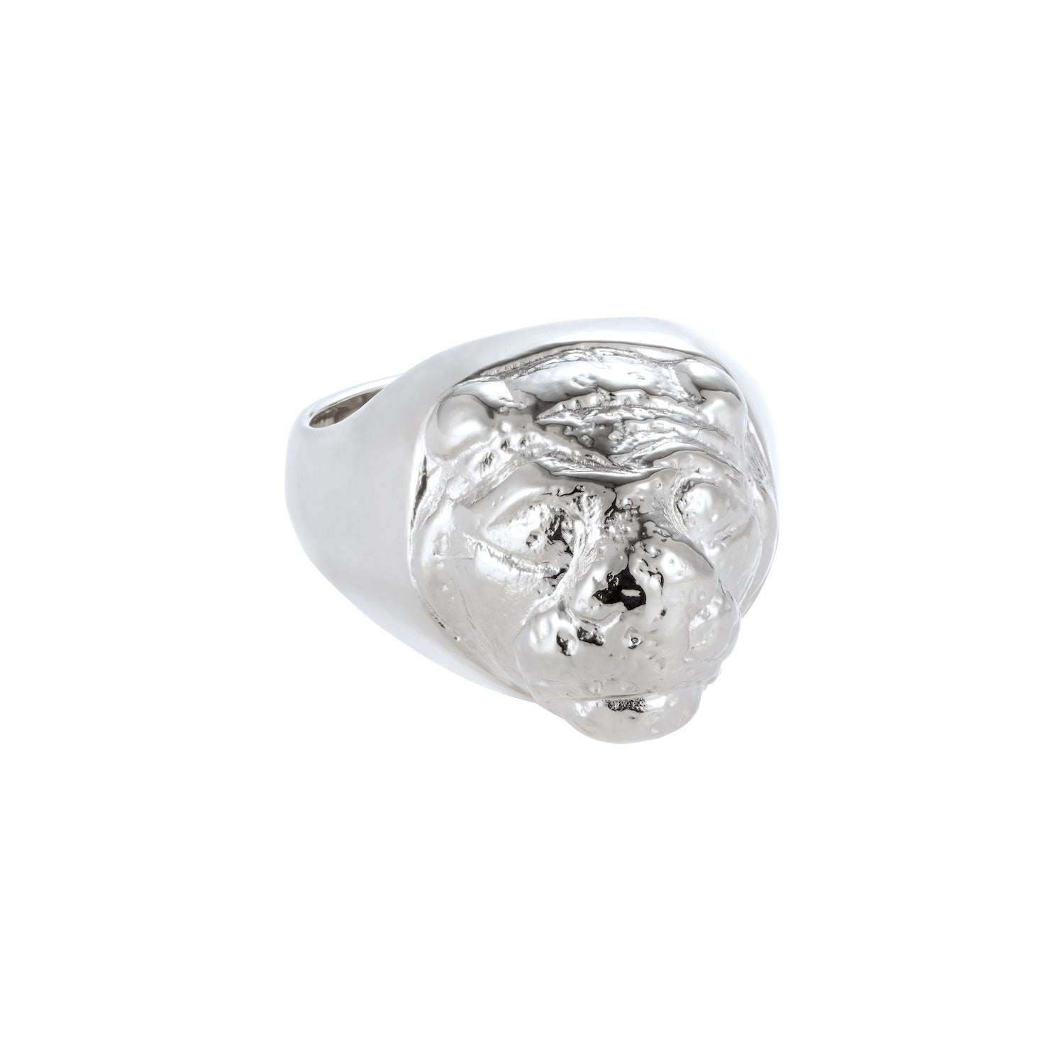 Lions Head Signet Ring Silver