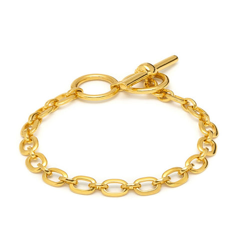 Atticus Skull Bar Chain Bracelet In Gold