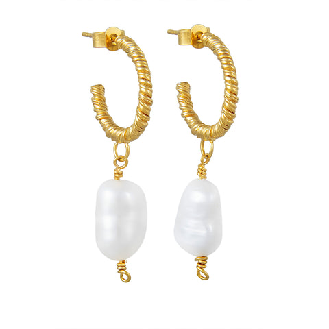 Organic Twisted Small Pearl Hoop Earrings Gold