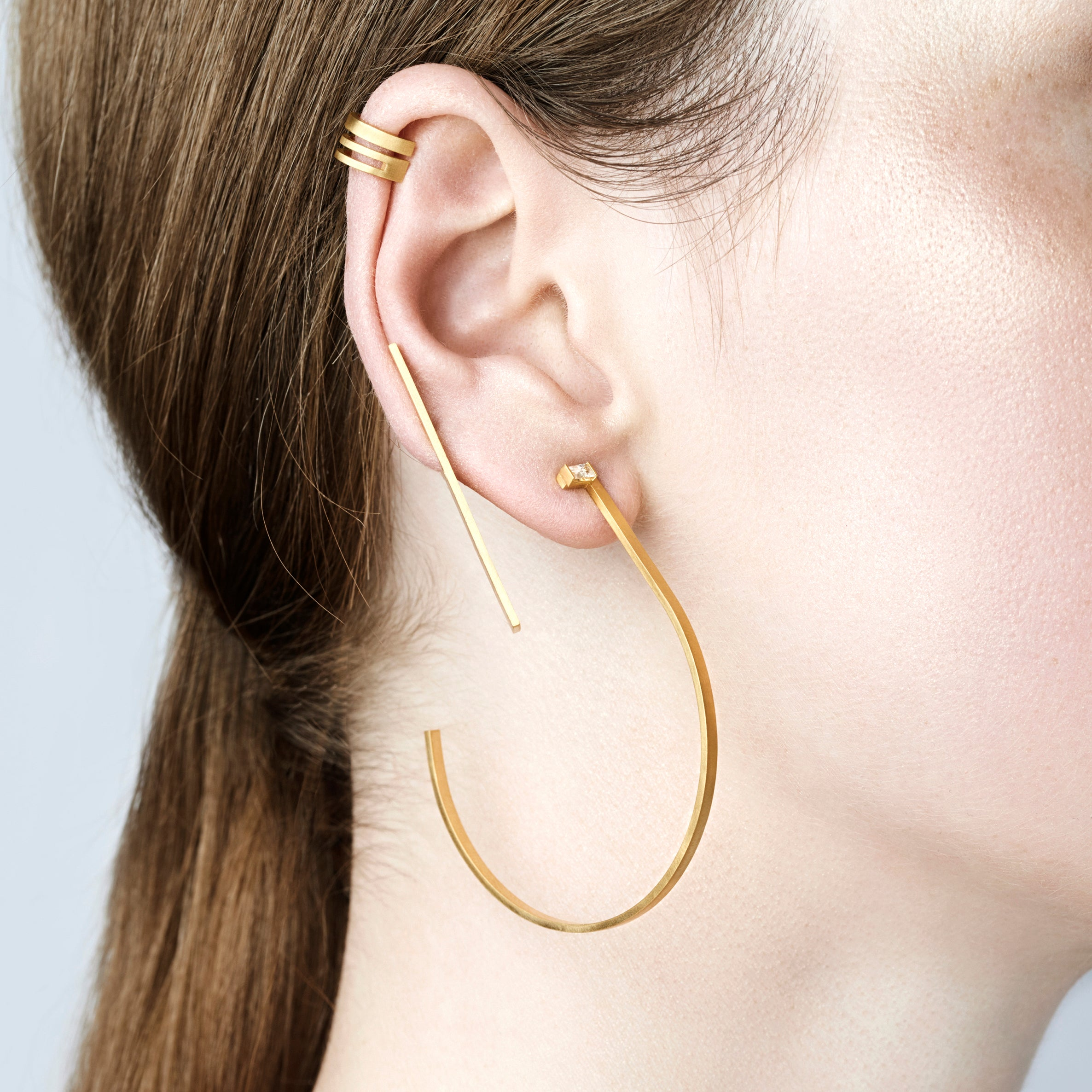 Unfinishing Line Triple Line Silver Ear Cuff