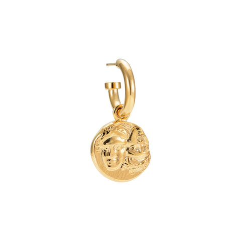 Istros Coin Hoop Earring Gold