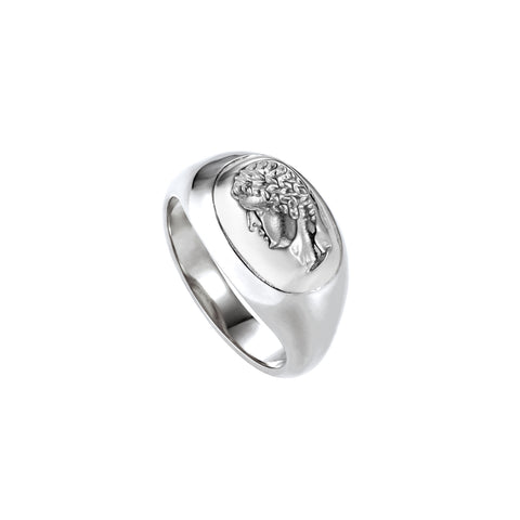 Portrait Of A Male Signet Ring Silver