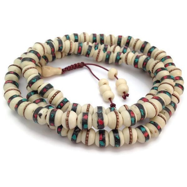Tibetan Turquoise and Coral Inlay Bone Beads 108 Beads Full Mala