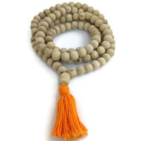 Natural Wood Tulsi (Tulasi) Round Beads Full Mala Necklace for Meditation and Yoga