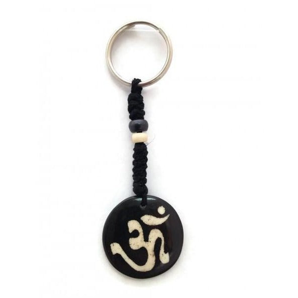 Hindu Om Symbol Bone Plate Disc Key Chain